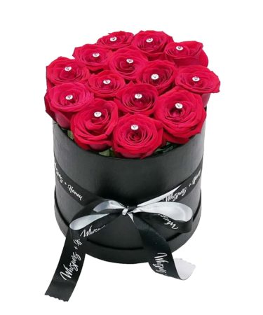 red roses- black flower cylinder-flower-delivery-las-vegas-nv