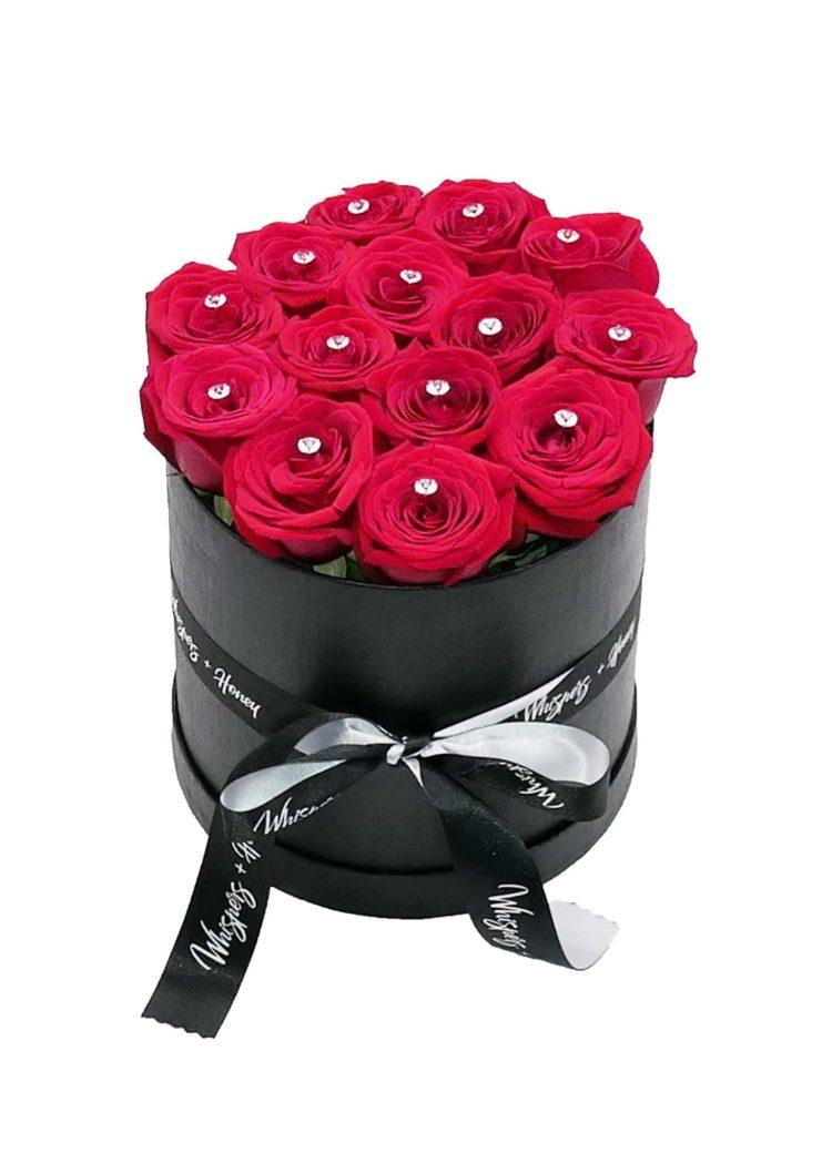 red roses- black flower cylinder-flower-delivery-las-vegas-nv