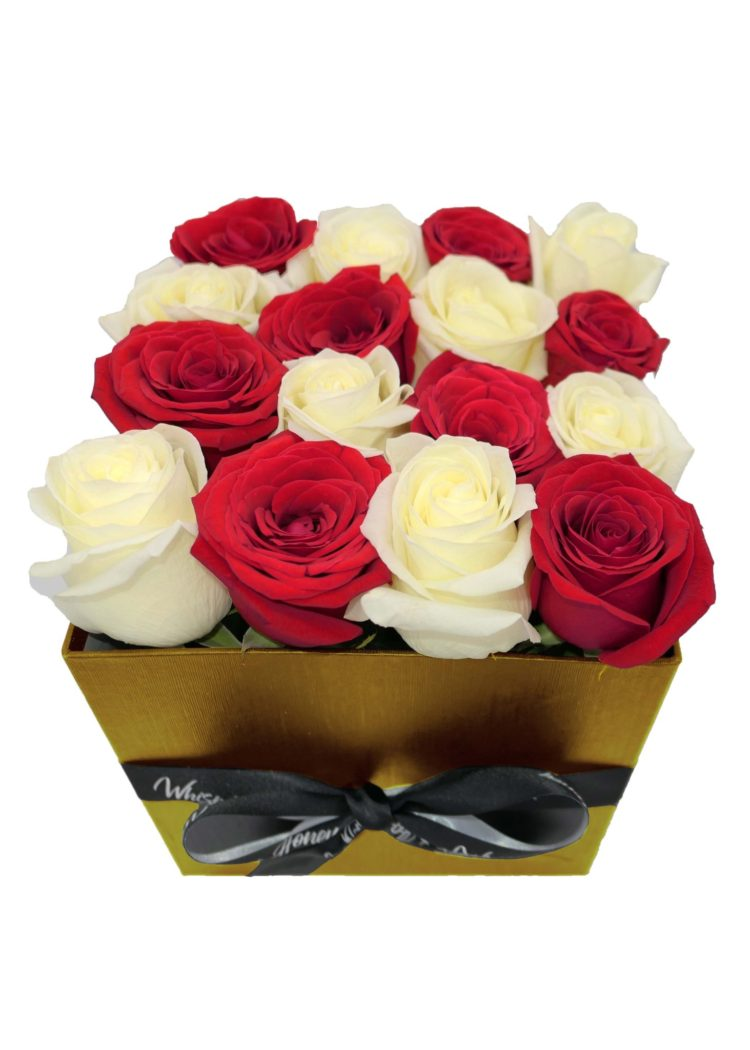 red roses- gold flower box-flower-delivery-las-vegas-nv