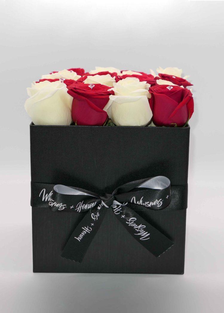 red-white-roses-black-flower box-flower-delivery-las-vegas-nv