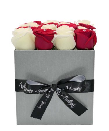 red roses- silver flower box-flower-delivery-las-vegas-nv