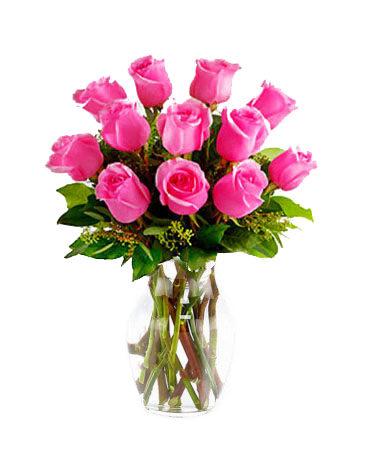 One-Dozen-Hot-Pink-Roses-Same-Day-Flower Delivery-Las-Vegas-Henderson-NV