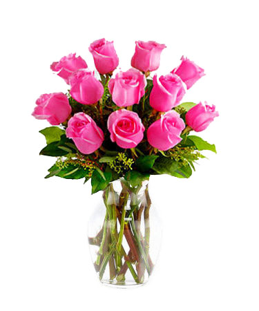 One-Dozen-Hot-Pink-Roses-Same-Day-Flower Delivery-Las-Vegas-Henderson-NV