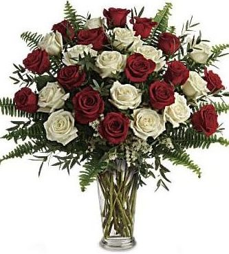 Yours Truly Bouquet-24 White and Red Roses-Same-Day-Dlower-Delivery-Las Vegas-Henderson-NV