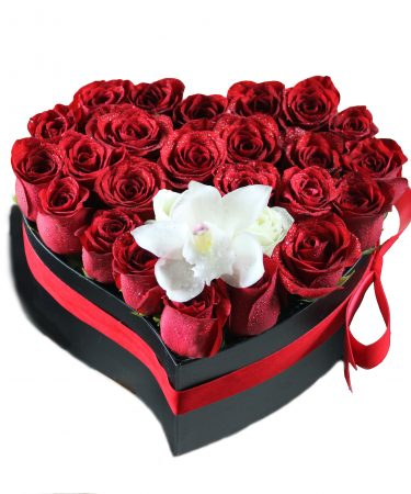 Heart Shape Flower Box With Red Roses-Same-Day-Flower-Delivery-Las Vegas-Henderson-NV