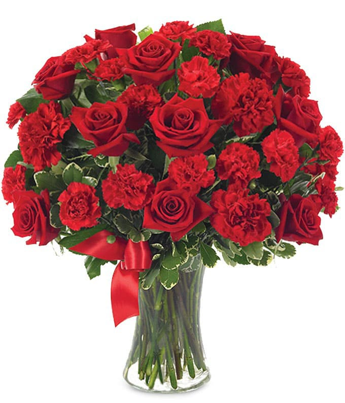 Red Roses With Carnations-Same-Day-Flower-Delivery-Las Vegas-Henderson-NV