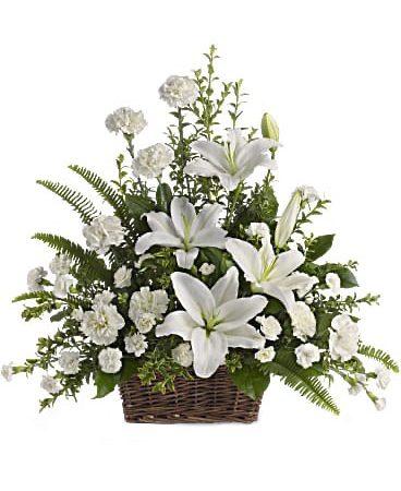Peaceful White Lilies Basket vegas